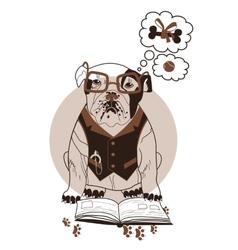 Smart bulldog vector