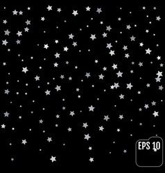 sparkling silver stars background on black golden vector image