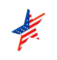 Star in the USA flag colors isometric 3d icon vector