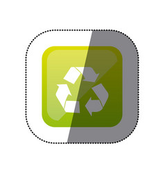 Sticker color square with recycling icon vector