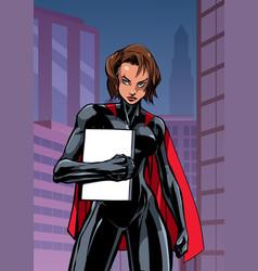 Superheroine holding book in city vertical vector