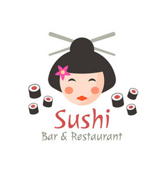 sushi geisha isolated logo concept vector image