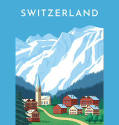 Switzerland travel retro poster nature vintage vector