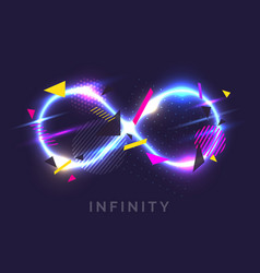 The infinity sign in the modern graphics with glow vector