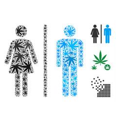 Toilet persons collage of marijuana vector