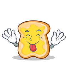 Tongue out slice bread cartoon character vector
