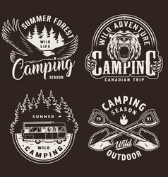 vintage camping season monochrome labels vector image