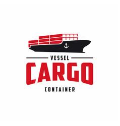Vintage cargo vessel ship logo design shipping vector