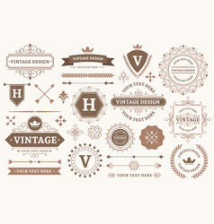 Vintage sign borders elegant frame luxurious old vector