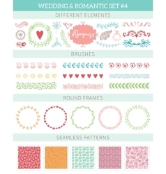 Wedding vintage elements big collection vector image