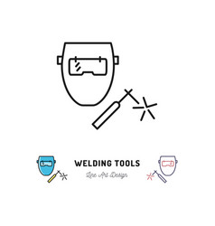 welding tools icon welding machine and welder vector image