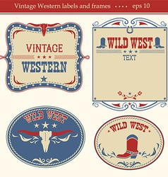 Western labels symbols and boards for text vector