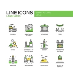 World landmarks icons set vector