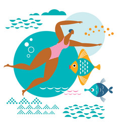 young woman swims in sea vector image