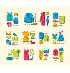 Flat clothes complect icons color vector image vector image