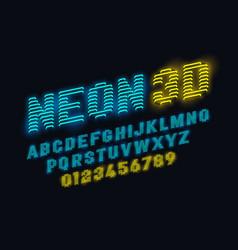 neon glow 3d font vector image