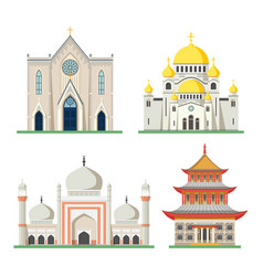 orthodox and catholic church pagoda and mosque vector image vector image