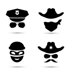 Set of black icons policeman icon thief vector