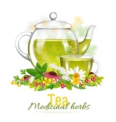 Teapot And Tea Cup Medicinal Herbs vector image vector image