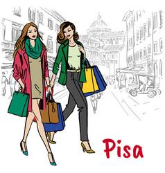 women in pisa vector image