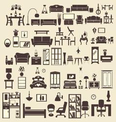 creative design furniture icons set interior- illu vector image vector image