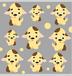 cute dog pattern with puppies and circles vector image