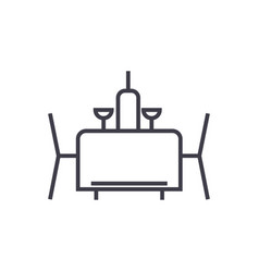 dinner line icon sign on vector image