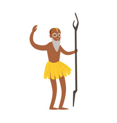 indian shaman character in a loincloth performing vector image vector image