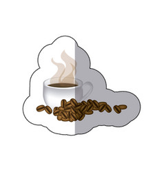 sticker coffee cup with grains of coffee vector image