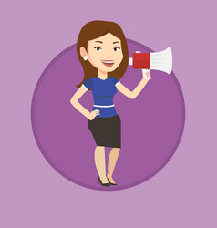 young woman speaking into megaphone vector image vector image