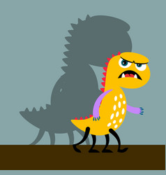 Angry yellow monster with shadow vector