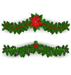 Christmas border decoration set vector image