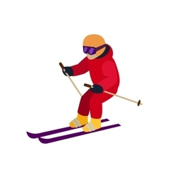 People Skiing Flat Style Design vector image