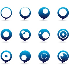 Blue Speech Bubble Icons vector image vector image