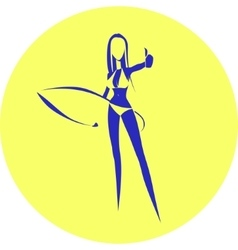 Girl with a surfing board vector image vector image