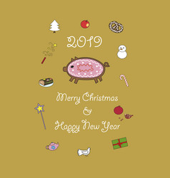 2019 year of the pig sweet cookies vector image