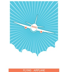 Airplane flying in sky blue poster background vector