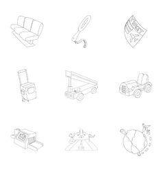 Airport icons set outline style vector