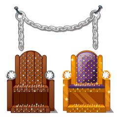 Ancient instruments torture wooden chair vector