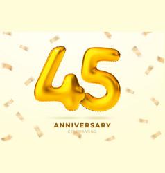 anniversary golden balloons number 45 vector image