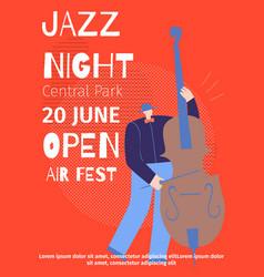 announcement jazz night open air fest flat poster vector image