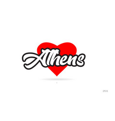 Athens city design typography with red heart icon vector