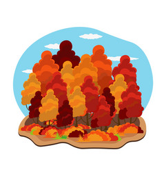 Autumn colorfull trees hello vector