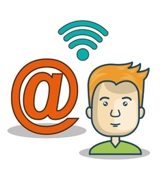 avatar man and wireless icon vector image