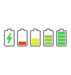 Battery charge indicators energy icons battery vector