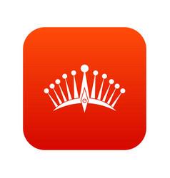 big crown icon digital red vector image