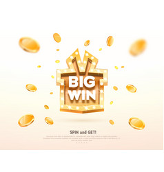 Big win prize gift box with golden retro board vector