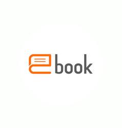 Book logo letter e education flat logo vector