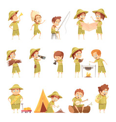 Boy scout retro cartoon icons set vector