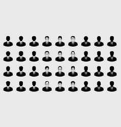 business man icons set and boss character vector image